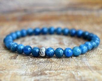 Genuine Apatite /  Mala Bracelet / Hill Tribe Silver / Yoga Jewelry / Spiritual Jewelry / Stretch Bracelet / Healing Bracelet