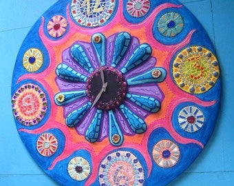 """Flower of Chronos"" mosaic clock and joyful painting"