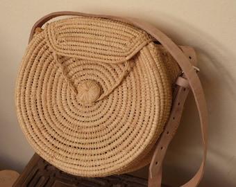 straw circular bag, raffia bag,summer tote,round basket bag,round shoulder bag,rattan round bag,raffia bag,ata bagmarket bag,french basket