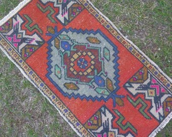 Decorative Rug, Small Size Rug, Bath Mat, Bathroom Rug, Entryway Rug, Floor Rug, Small Turkish Rug, Small Oushak Rug, Doormat Rug