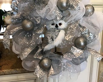 Owl in a white winter Deco Mesh Wreath