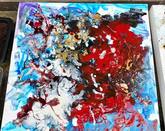 """Abstract Acrylic painting on 16"""" x 16"""" Box canvas"""