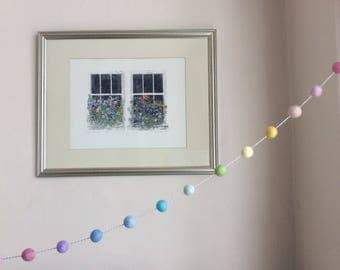 Pastel Rainbow Felt Wool Garland  in a Bag