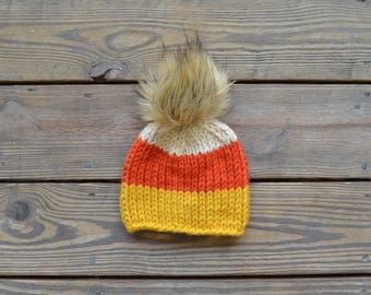Fur Pom Pom Beanies, Toddler Hats for Girls, Fall Hats, Candy Corn Hat, Gifts for Girls,  Baby Hats for Girls, Children's Hats, Baby Beanie