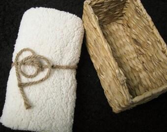18x20 Short Off White Sherpa Fur Nest Newborn Photography Prop Large Stuffer layering blanket