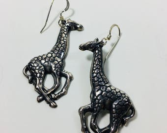 Silver Plated Detailed Giraffe Earrings by Ten Dollar Studio where all items are always Ten Dollars