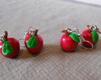 Earrings: Ruby Red Apple and green leaf