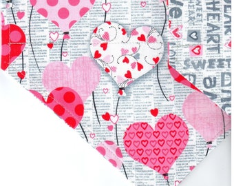 Hearts Sentiment | Valentines Day Dog Bandana | Dog Bandana | Puppy Bandana | Pet Bandana | Over the Collar Bandana