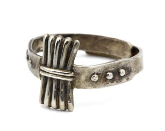 Art Deco Sterling Ring, 925 Silver Band Ring, Thin Delicate Ring, Antique 1940s Womens Jewelry, Adjustable Ring Size 7, Old Rustic Ring