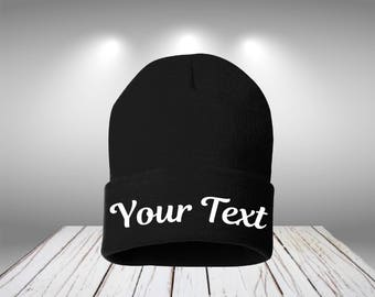 12 Inch Knit Beanie Customize Beanie Personalized Beanie Your Text Here  Beanie Customize Beanie Your Name Beanie Custom Name Beanie