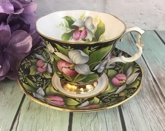 Royal Albert Provencial Flowers Ladyslipper Teacup and Saucer Set Vintage Fine Bone China England Made Porcelain Excellent!
