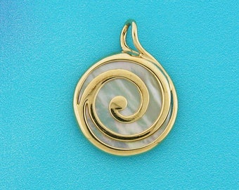 Mother of Pearl Pendant, Gold Spiral Pendant, Swirl Pendant, Solid 14k and Shell Pendant, Unique Design, Round Pendant, Solid Gold, for Her