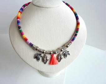 cord tassel and ethnic Charms Necklace