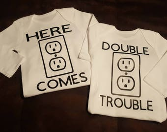 Preemie, Twins, Twin, Here Comes Double Trouble, Double Trouble (A BUMBLEBEE ORIGINAL), Super Cute Onesie - Makes A Great Shower Gift!
