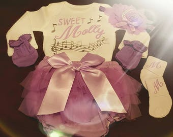 Baby Girl, Coming Home,  Sweet, Going Home, Baby Shower, Music Onesie Set, Musical Notes, Purple, Lavender, Baby Girl