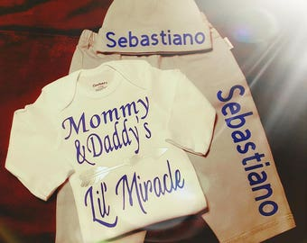 Newborn, Baby Boy, Going Home Outfit, Bodysuit, Boy Baby Shower, Gift, Monogrammed With Name, Mommy and Daddy's Lil' Miracle
