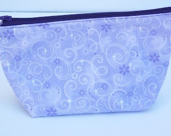 Purple sparkly Make Up Bag/Travel Bag/Cord Bag/Pencil Pouch/Heart Removable Zipper Pull