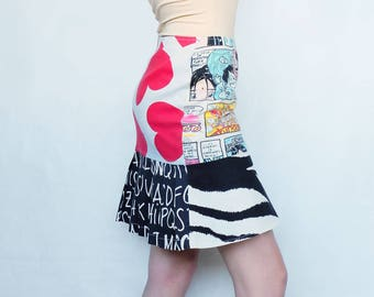 Vintage Moschino jeans skirt with comics, hurts and alphabet print