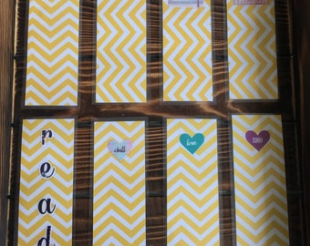 8 yellow paper bookmarks