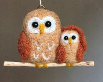 Owl felted and baby, miniature stuffed animal, cute owl woolen needle felted