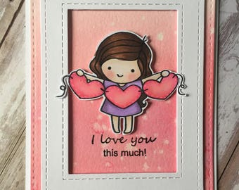 Love you , valentine , hand made, greeting card , pink, folding card , distress inks , stamps