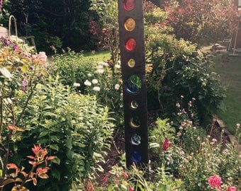 Handmade Leaded stained glass garden sculpture