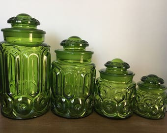 LE Smith Moon and Stars Green Canister / Apothecary Jar Set