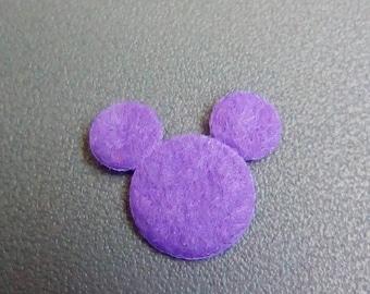 Mini Mickey 18x13mm purple felt applique