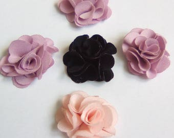 5 flower appliques rose black fabric 20x20mm