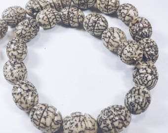 "16"" Strand of Carved Beads Made from Seed/Nut"