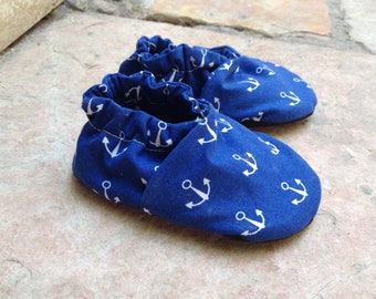 RESERVED FOR DAPHNA Hope: Anchor-Print Soft Soled Cotton and Leather First-Step Baby Shoes Size 3