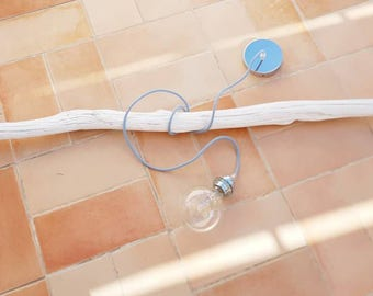 Wooden pendant lamp white