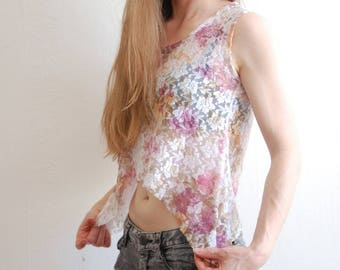 Vintage Sheer Lace Floral Crop Top Size S