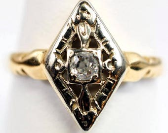 Valentine's Gift Antique 14K Gold Diamond Shape Diamond Ring