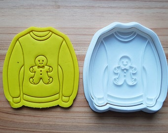 Ugly Sweater(Gingerbread Man) Cookie Cutter and Stamp