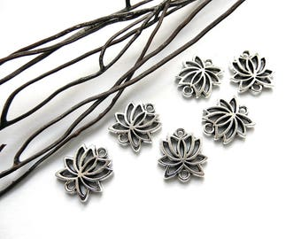6 silver plated lotus flower connectors