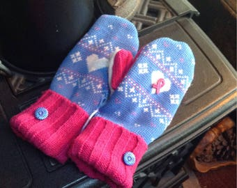 Sweater mittens  with pink ribbon , medium