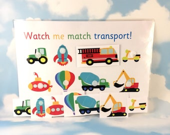 Transport learning sheet, digger, fire engine, Nursery, Matching, rocket, trucks, Visual learners, Early learning, Children's development