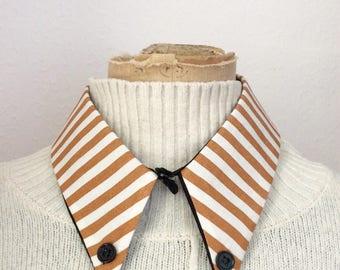 Striped cotton detachable collar