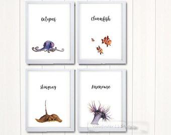 Sea Creature Watercolour Prints for Nursery