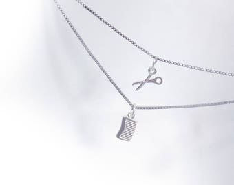 Scissors and Comb Necklace in Solid Sterling 925 Silver (SN023)