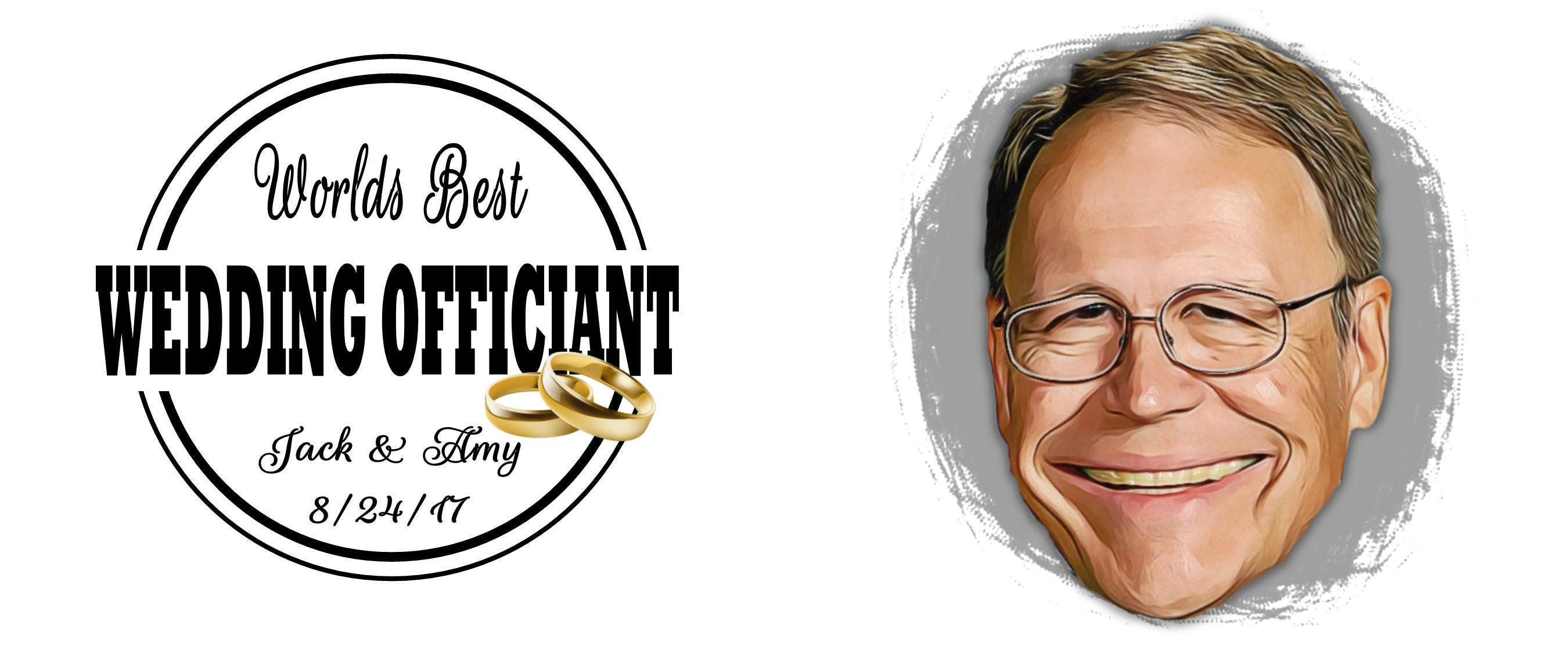 Pastor Gift Ideas Cartoon Worlds Best Officiant Caricature Guys Idea Gifts Portrait Thank You For Marrying Us