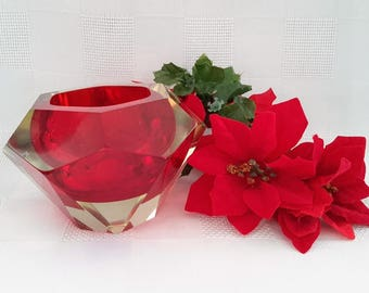 Red Murano Faceted Sommerso Art Glass Bowl, Italy