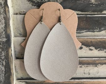 Taupe Shimmer Leather Teardrop Earrings - Handmade Earrings - Leather Earrings - Lightweight Earrings