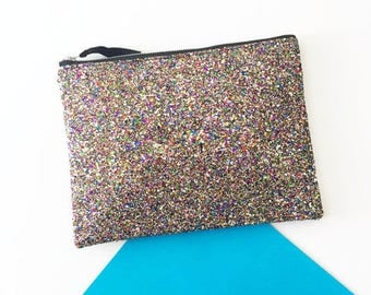 Rainbow Bag, Rainbow Glitter Clutch, Large Evening Bag, Wedding Clutch, Party Handbag, Glitter Wallet, Bridesmaids Gift, Gift for Her