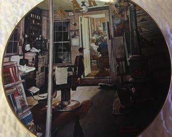 "Vintage Norman Rockwell Plate ""Shuffleton's Barbershop"" Limited Edition #5181"