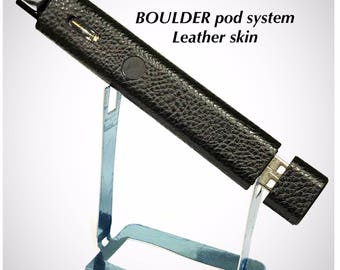 Boulder Vape Mod skin wrap Black Faux Leather Textured skin wrap by Jwraps