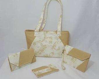 Beige floral purse set - Handmade purse set - Beige bag - Handbag - Beige floral print - Beige print - Handmade - Fabric bag - Double strap