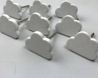 Set of 8 Pretty White Ceramic CLOUD Knobs/Drawer Pulls