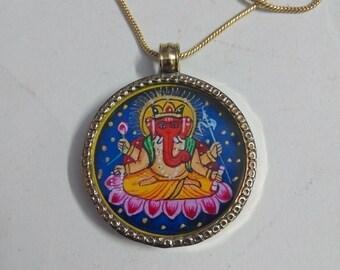 Brass Necklace Pendant With 24 Inch Brass Chain Hindu Deity God GANESHA Beautiful Pendant Necklace Size 3.2 cm